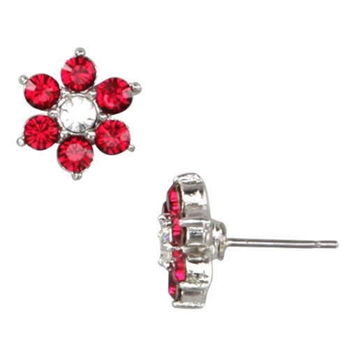 Red and White Crystal Flower Silver Tone Rhodium Overlay Post Stud Pierced Earrings