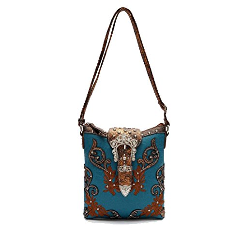 Cowgirl Trendy Western Scroll Art Crown Bling Buckle Conceal Carry Crossbody Bag