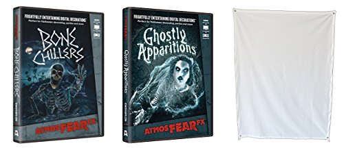 Atmosfear Fx Ghostly Apparitions & Bone Chillers Dvd Plus Rear Projection Screen For Virtual Halloween Window Projection Movies
