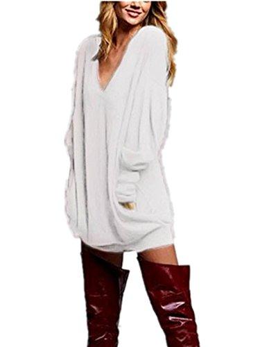 ZANZEA Donna V-Neck Manica Lunga Camicetta Maglioni T-shirt Mini Gonna Sweatshirt Top Beige IT 46-48/TAG XL