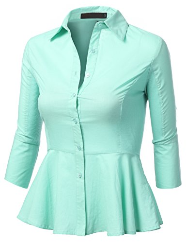 J.Tomson Womens Long Sleeve Peplum Button Down Shirt W/ Ribbed Sides