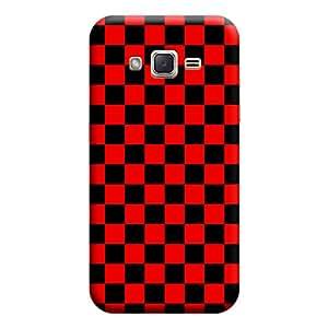 Desicase Samsung J3 Square Pattern 3D Matte Finishing Printed Designer Hard Back Case Cover (Red)