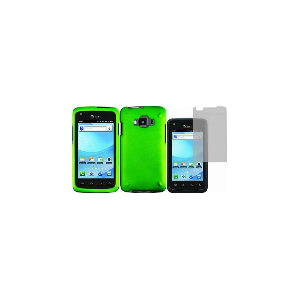 Neon Green Hard Case Cover+LCD Screen Protector for Samsung Rugby Smart i847 Cell Phones & Accessories
