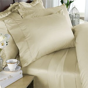 1500-Thread-Count Egyptian Comfort Sheet Set, Queen, Ivory Solid