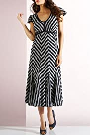 Per Una Cotton Rich Chevron Stripe Dress [T62-9687G-S]