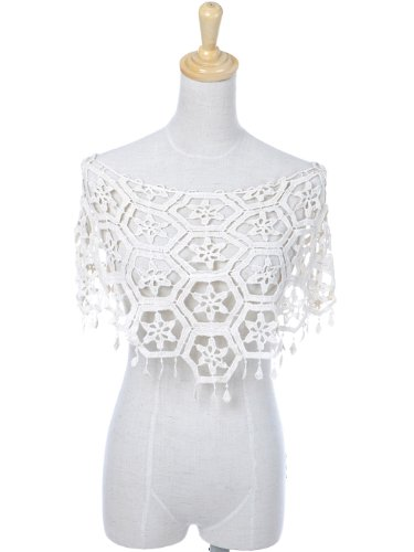 Anna-Kaci S/M Fit White Feminine Floral Crochet Shawl with Petite Tassel Detail