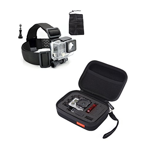 "Masione™ Gopro Mount Accessory Set: Small Carrying And Travel Case (5.9"" X4.7"" X2.7"")+ Head Belt Strap + Aluminum Thumbscrew/Thumb Screw Knob -For Gopro Hero1, Hero2, Hero3, Hero3+ Camera"