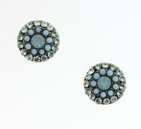 Amaro Jewelry Studio 'Green Ocean' Collection Stud Earrings Amazingly Designed with Chrysocolla, Russian Amazonite and Swarovski Crystals; Handmade in Israel