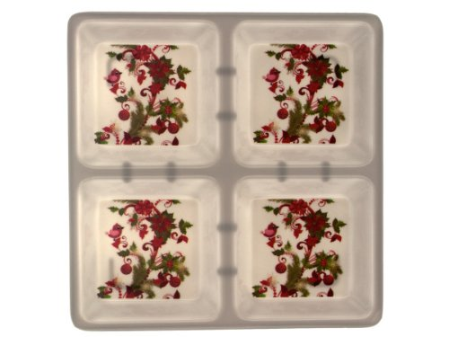 handy helpers Bulk Buys Four Section Square Dish with Holly Design