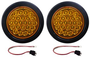 "4"" Amber 24 Diode High Count Stop Tail Turn Truck Trailer Light Kit"