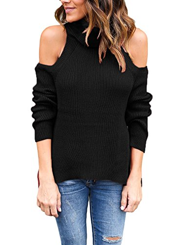 Astylish Women High Neck Cut Out Cold Shoulder Ribbed Knit Sweater Pullover Top Black Large