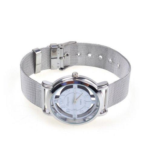 Bestdealusa White Rotary Dial Quartz Wrist Watch Steel Men Xmas Gift