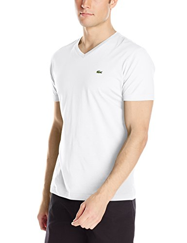 Lacoste Short Sleeve Pima Jersey V-neck T-shirt (S, White)