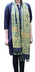 Indo Mood   Exclusive Hand Crafted Moss Green Matka Silk Stole