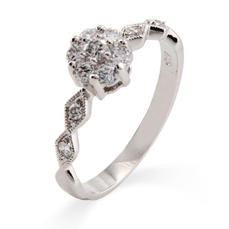 Precious Flower with Sway Band CZ Promise Ring Size 8 (Sizes 5 6 7 8 9 Available)