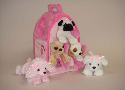 plush-pink-dog-house-with-dogs-five-5-stuffed-animal-dogs-in-pink-play-dog-house-case