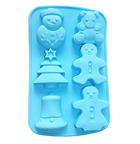 Yunko 6 Cavity Christmas Snowman Chocolate Mold Pudding Cold Cake Mold Candy Mold