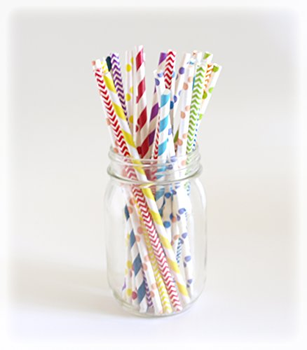Rainbow Party Straws, Candy Straws, Fancy Drinking Straws, Fun Paper Straws, 25 Pack - Rainbow Color Multi Design Straws