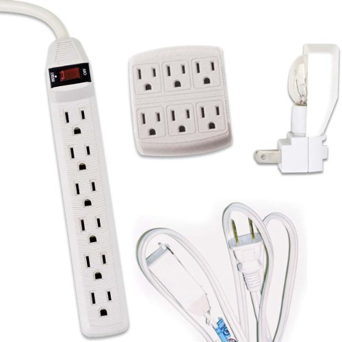 Globe Electric 58110 Electrical Combo-Pack- 6-Outlet Tap, 6-Outlet Power Strip, 3-Outlet Extention Cord, Night Light, 4-Piece (White)