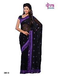 Black Color Georgette party wear fancy designer saree - B00MZ5Q4MQ