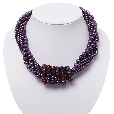 6-Row Purple Pearl Style Chunky Choker Necklace