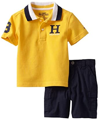 Tommy Hilfiger Baby-Boys Infant Matt Short Sleeve Polo With Poplin Cargo, Daffodil Yellow, 18 Months