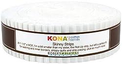 "Robert Kaufman KONA COTTON SOLIDS WHITE Skinny Strips 1.5"" Precut Cotton Fabric Quilting Jelly Roll Assortment SS-102-40"