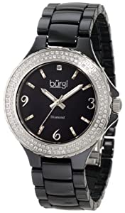 Burgi Women's BU47BK Round Swiss Quartz Diamond Ceramic Mother of Pearl Quartz Watch