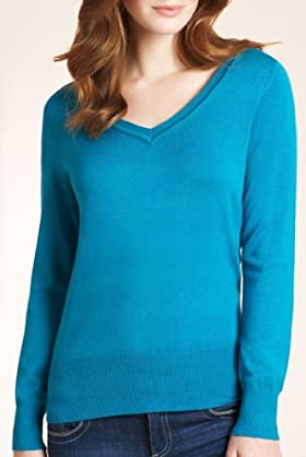V-Neck Long Sleeve Plain Jumper [T38-5387-S]