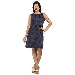 PRAKUM Women's Cotton Regular Fit Dress Blue (Medium)