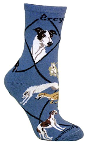 greyhound-dog-blue-cotton-ladies-socks