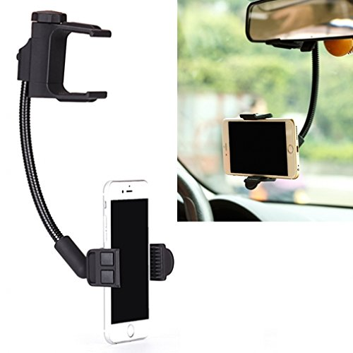 Car Rear View Mirror Mount Holder for All Smartphones - iPhone 6 6S, Plus, 5S 5C - Samsung Galaxy S7, Edge, S6 S5, S4, S3, Active - Galaxy Note 7 5 4 3 - LG G2 G3 G4 G5 V10 - HTC 10 - Moto Z Droid