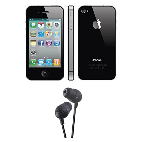 Apple iPhone 4S 16GB (Black/Factory Unlocked) with Marshmallow Earbuds (Black)