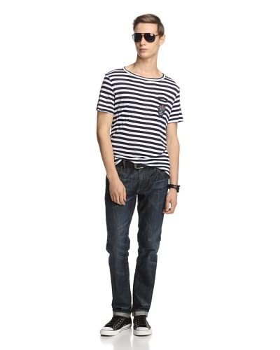 GF Ferre Men's Stripe T-Shirt  [White/Blue]