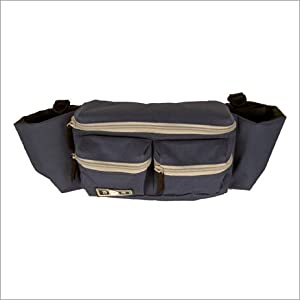 Navy Mini Diaper Bag W/Gray