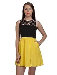 Yellow Black Lace dress