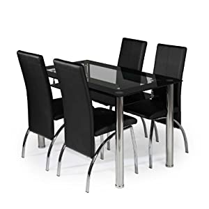 Kingston dining set 4 seater glass dining table and 4 faux for 4 seater dining room table and chairs