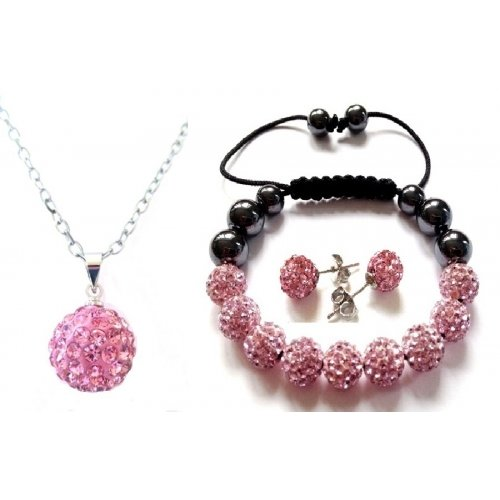 Premium Quality PINK Crystal Shamballa 10mm NECKLACE PENDANT MATCHING EARRINGS & BRACELET with 45cm 18 inch LINK...
