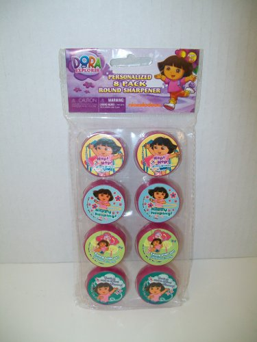 Dora the Explorer Personalized 8-pack Round Pencil Sharpeners - 1