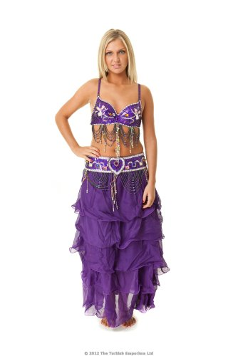 Professional Belly Dance Costume Set with Skirt Top and Belt - Purple