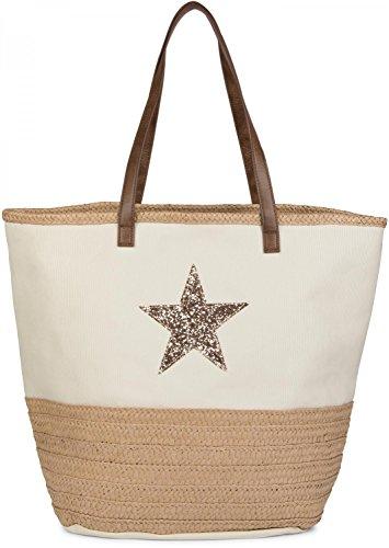 styleBREAKER-Strandtasche-mit-Pailetten-Stern-und-Bast-Schultertasche-Shopper-Badetasche-Damen-02012058-FarbeBeige