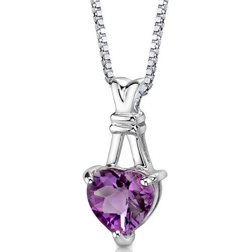 Sterling Silver Heart Amethyst Pendant with 18 inch Silver Necklace