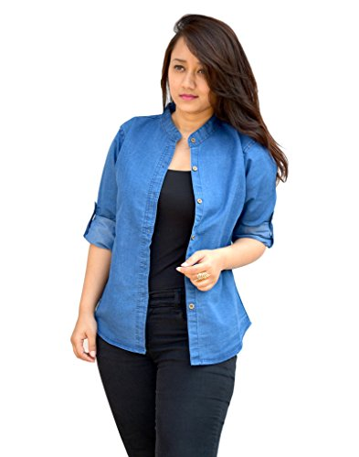 Aarti Collections Stylish Full Sleeves Dark Blue Women's Denim Shirt