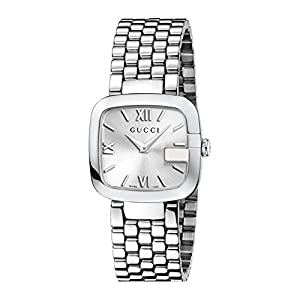 Gucci G-Gucci Collection Women's Quartz Watch with Silver Dial Analogue Display and Stainless Steel Bracelet YA125411