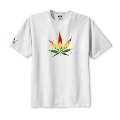 BEAUTIFUL REGGAE Marijuana Pot Leaf White T-Shirt 2X-LARGE