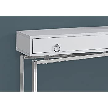"""Monarch Specialties I 2443 42""""/Glossy White/Chrome Hall Console Accent Table"""