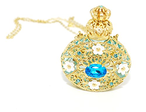 Czech Jewelled Decorative Floral Light Blue Perfume Oil Bottle Holder Necklace/pendant