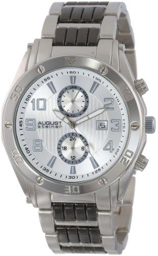 August Steiner Men's Swiss Multi-Function Silver-Tone Dial Black Bracelet Watch