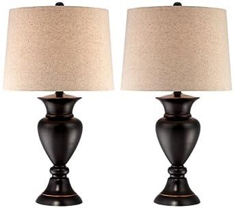 Set Of 2 Metal Urn Bronze Table Lamps