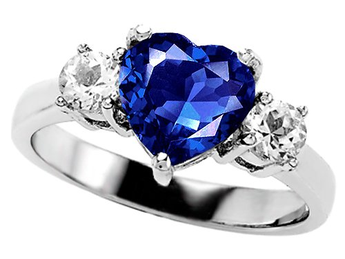 2.60 cttw 925 Sterling Silver 14K White Gold Plated Lab Created Heart Shape Sapphire Engagement Ring Size 5